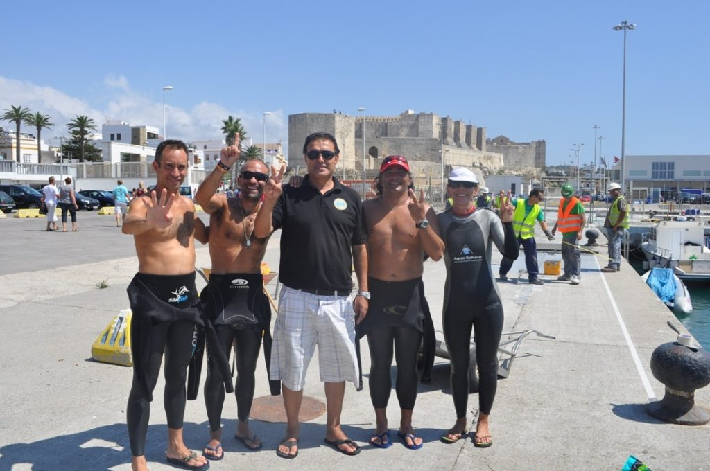 fourth Chema Lopez swimming across straits of Gibraltar