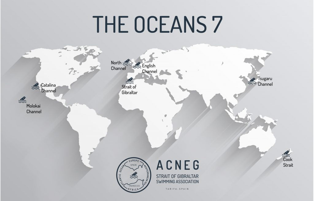 Ocean Sevens world map of ACNEG (Strait of Gibraltar Swimming Association)